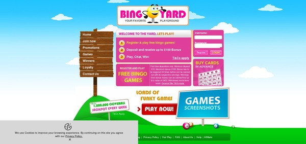 Bingo Yard Register Page