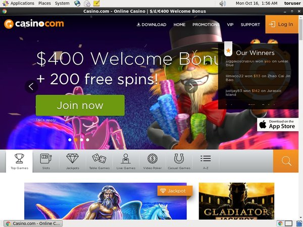 Casino.com Free Spin Bonus