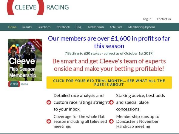 Cleeve Racing No Deposit Bonus 2018