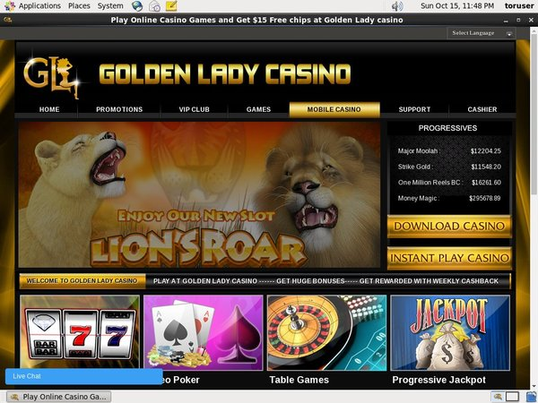 Golden Lady Casino Free Spin Bonus