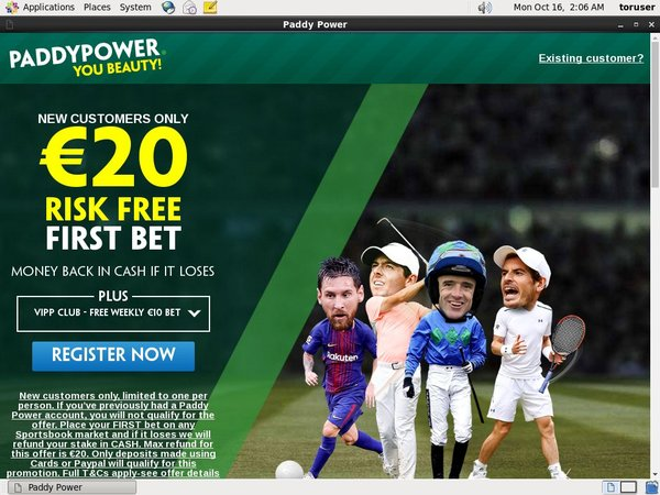 Paddy Power Sports Betting Desktop Site Login