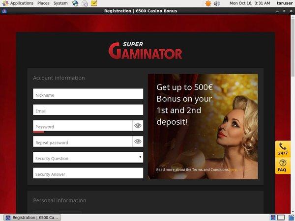 Signup Bonus Super Gaminator