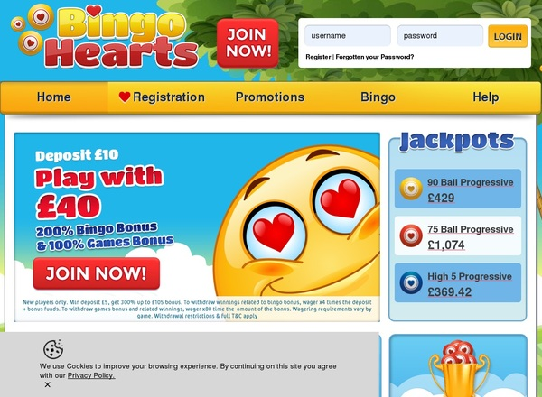 Bingo Hearts Join Free Bet