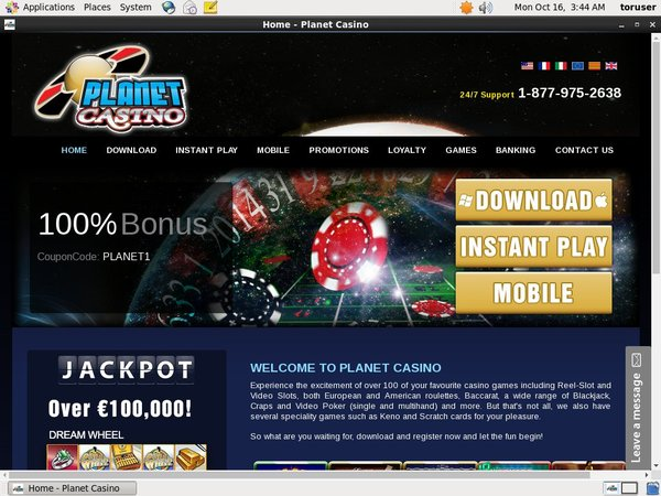 Planet Casino Register Page
