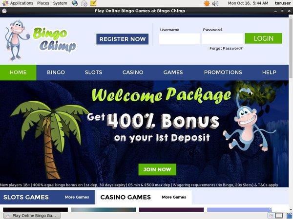 Bingo Chimp Telephone Betting