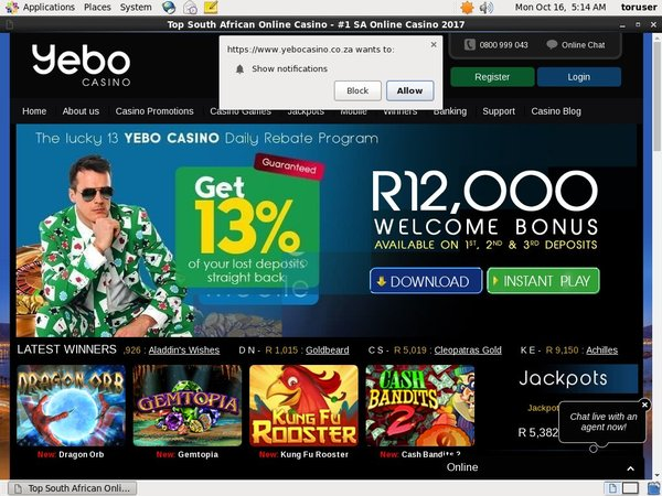 Free Yebo Casino Account